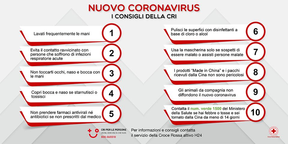 consigli contro il contagio da coronavirus